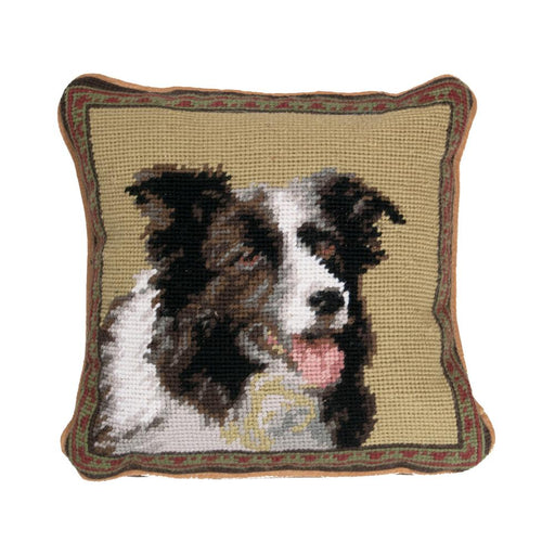 Border Collie Needlepoint Dog Pillow