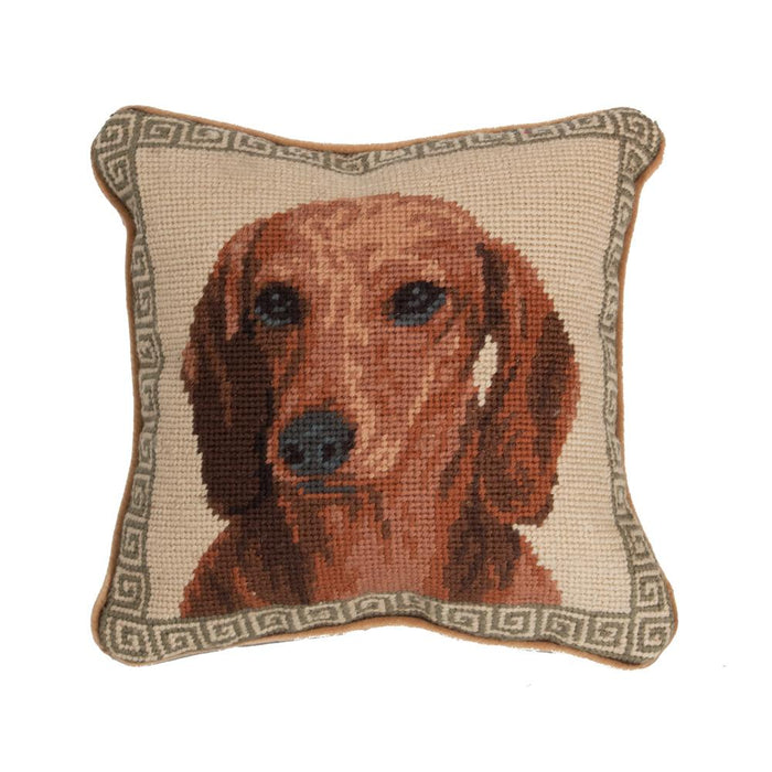 Red Dachshund Needlepoint Dog Pillow