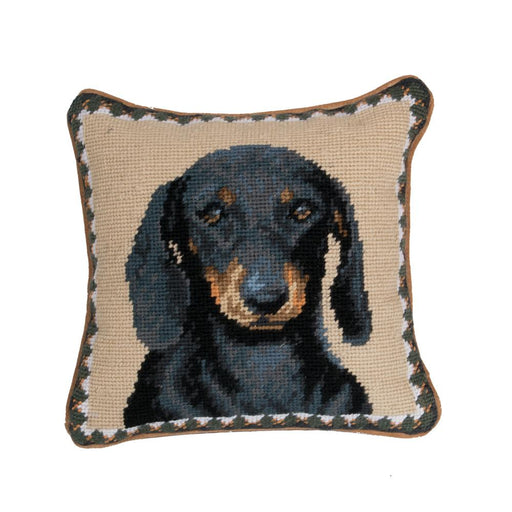 Black Dachshund Needlepoint Dog Pillow