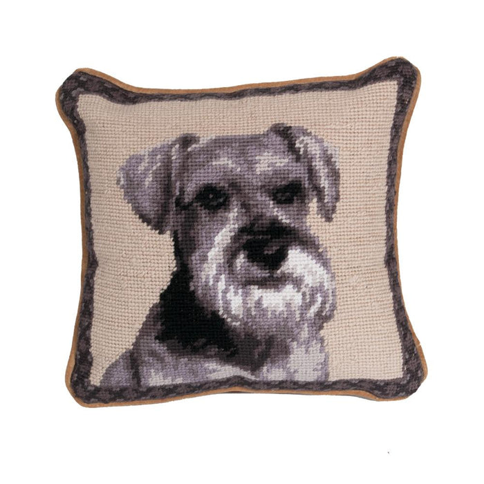 Schnauzer Needlepoint Dog Pillow