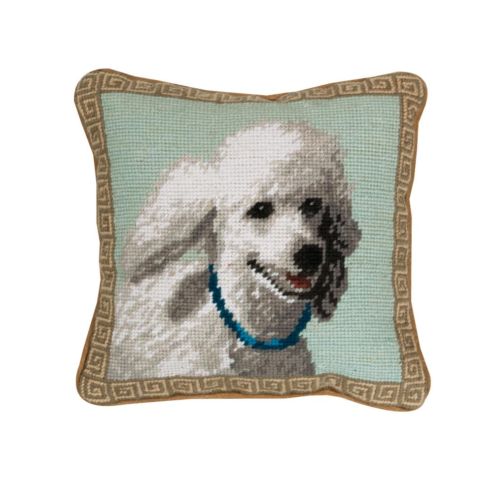 White Poodle Needlepoint Dog Pillow
