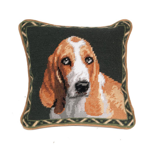 Basset Hound Needlepoint Dog Pillow