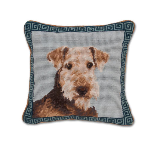 Airedale Needlepoint Dog Pillow