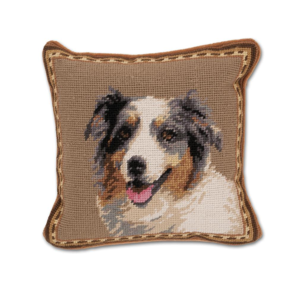 Australian Shepherd Needlepoint Dog Pillow