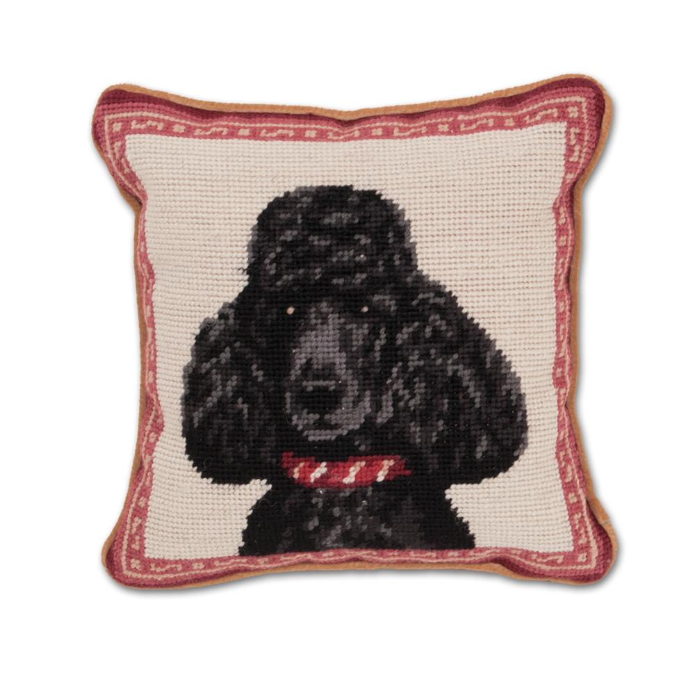 Black Poodle Needlepoint Dog Pillow