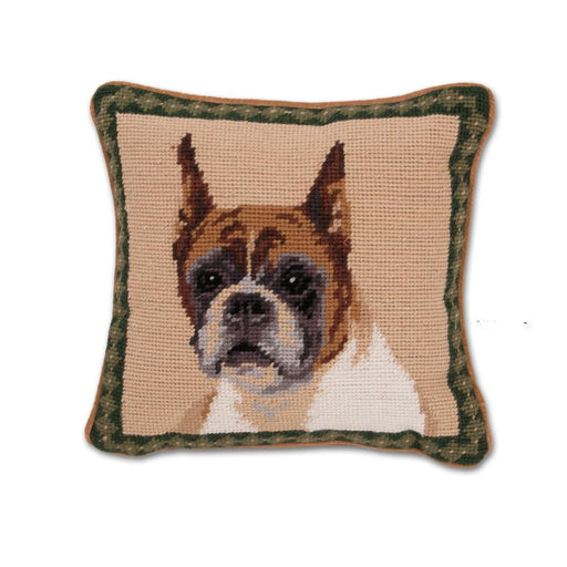 Boxer Portrait Needlepoint Dog Pillow