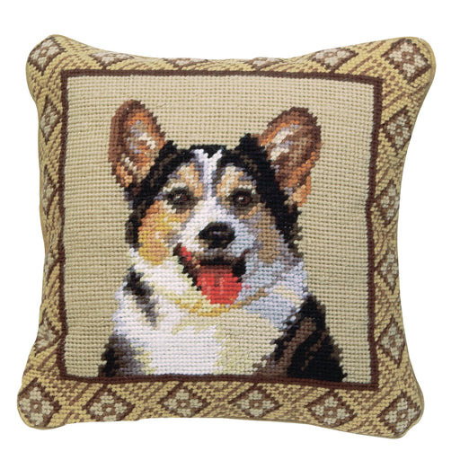 Tri-Color Corgi Needlepoint Dog Pillow