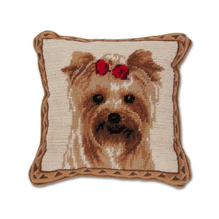 Red Ribbon Yorkie Needlepoint Dog Pillow