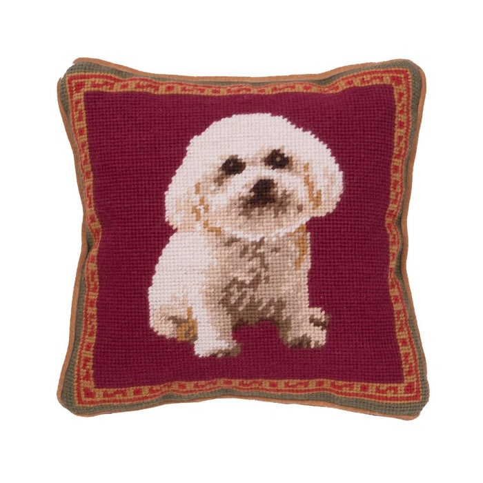 Sitting Bichon Needlepoint Dog Pillow