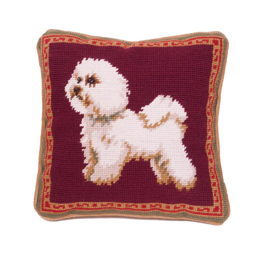 Standing Bichon Needlepoint Dog Pillow