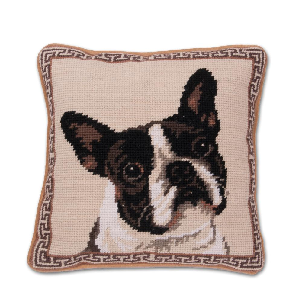Boston Terrier Portrait Needlepoint Dog Pillow