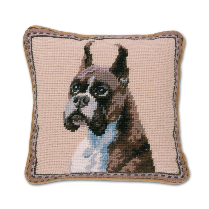 Boxer Needlepoint Dog Pillow