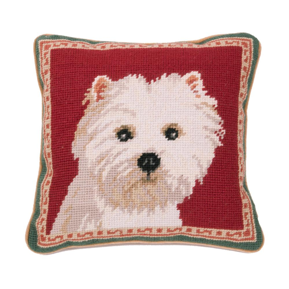 Westie Portrait Needlepoint Dog Pillow