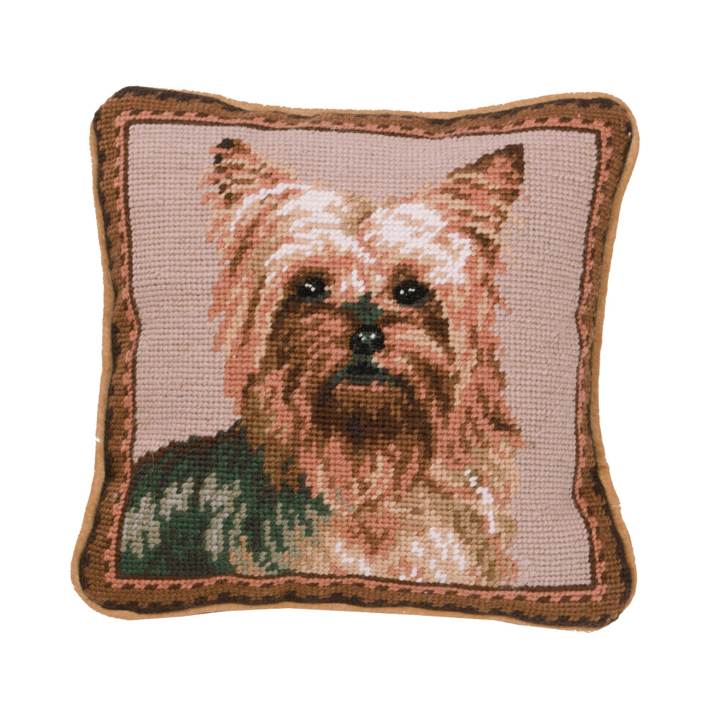 Yorkie Needlepoint Dog Pillow