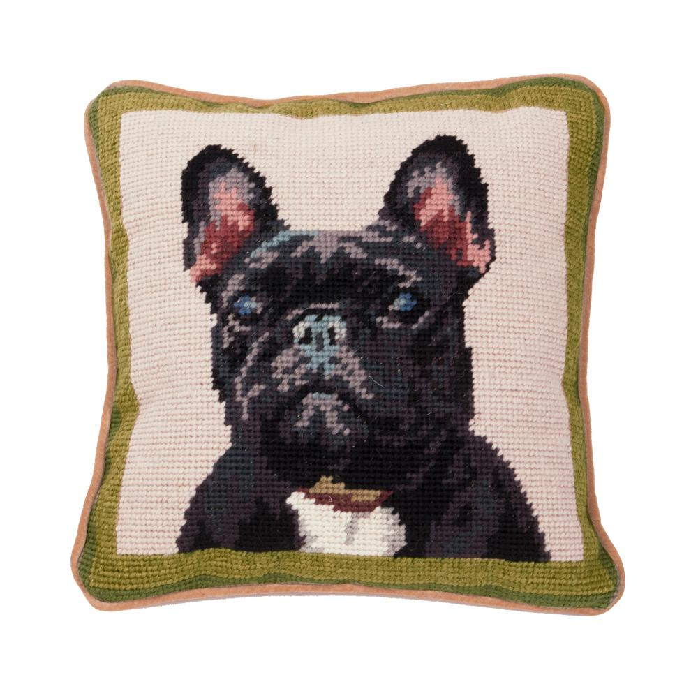 Black French Bulldog Needlepoint Dog Pillow