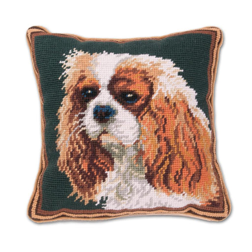 Blenheim Cavalier Needlepoint Dog Pillow