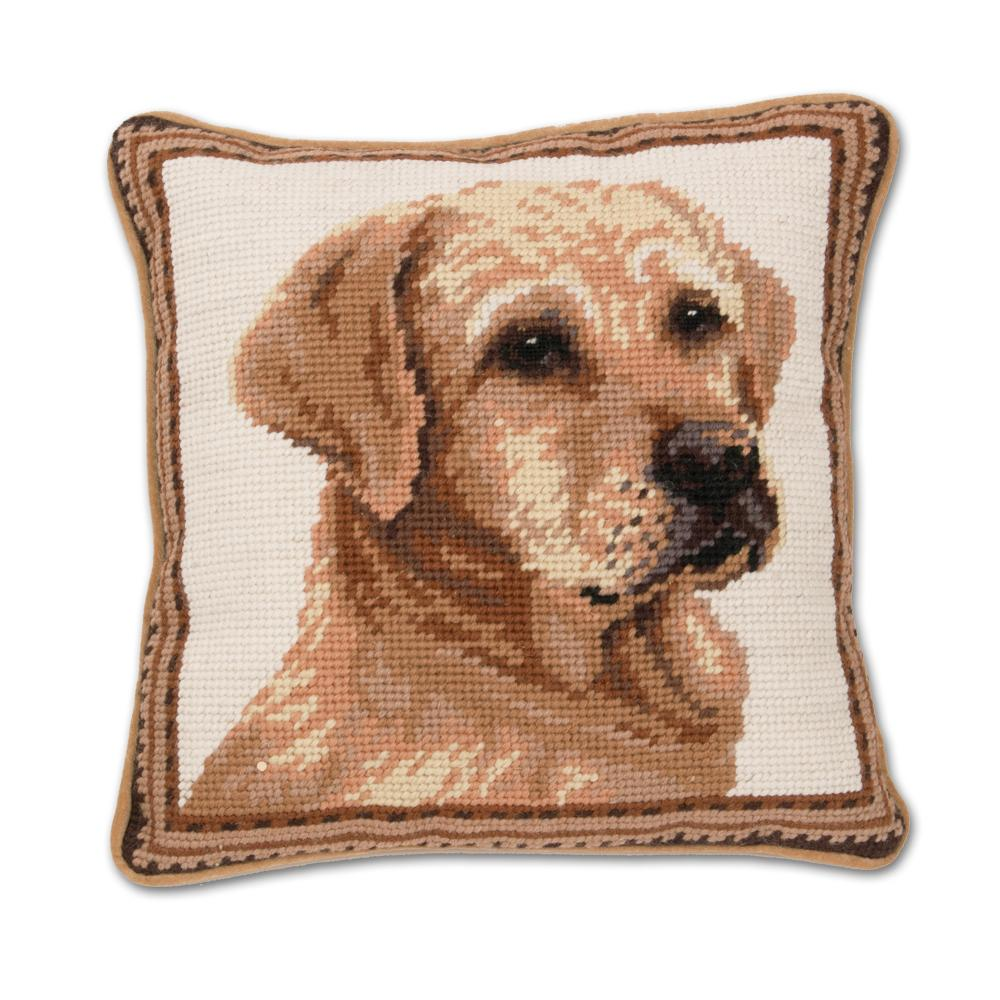 Yellow Lab Needlepoint Dog Pillow