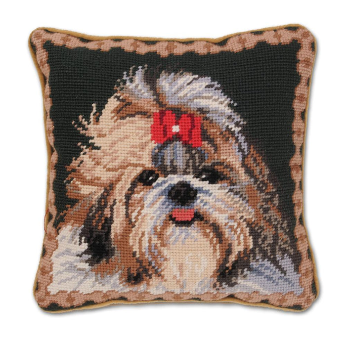 Shih Tzu Red Bow Needlepoint Dog Pillow