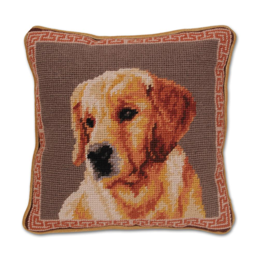 Golden Retriever Portrait Needlepint Dog Pillow