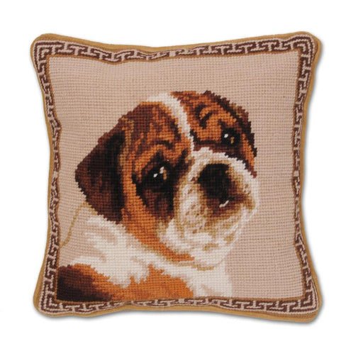 Bulldog Puppy Needlepoint Dog Pillow