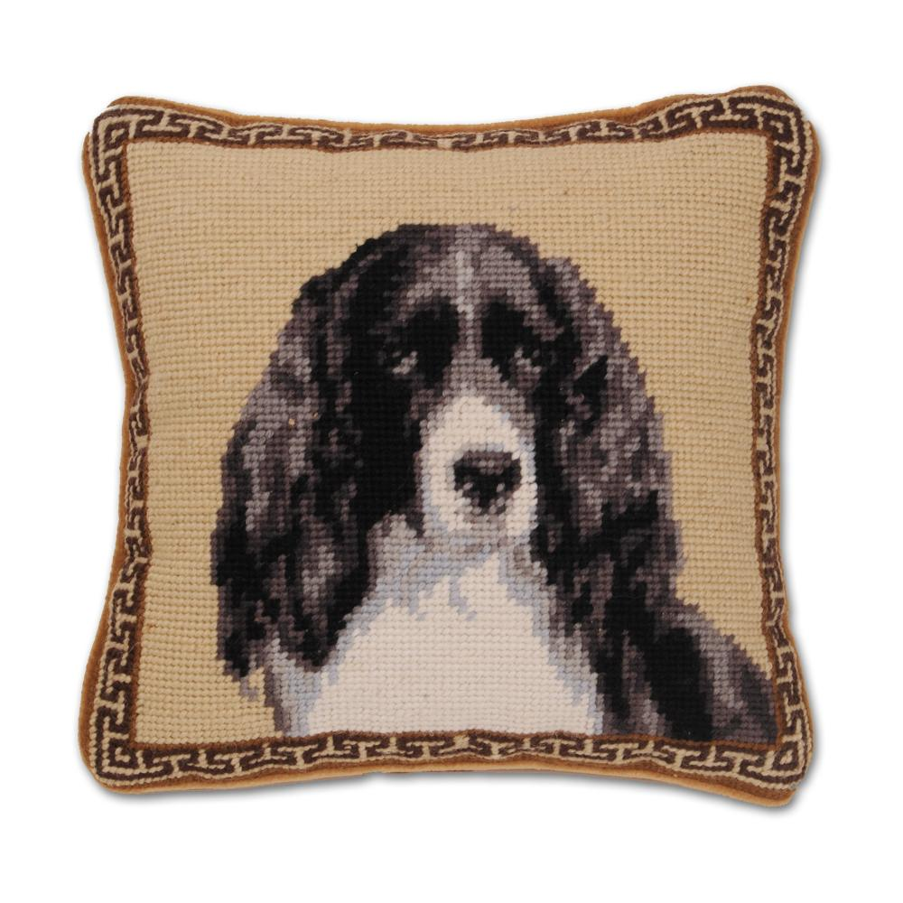 Springer Spaniel Portrait Needlepoint Dog Pillow