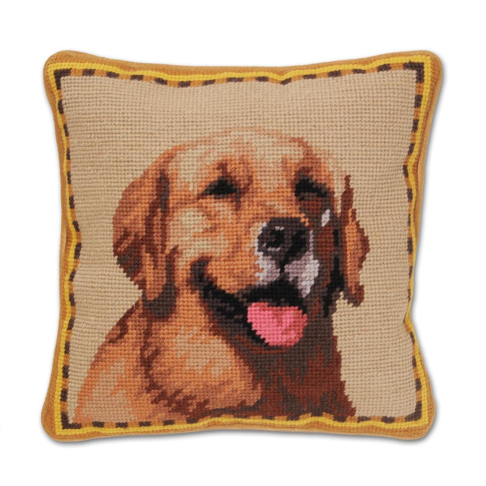 Happy Golden Retriever Needlepoint Dog Pillow