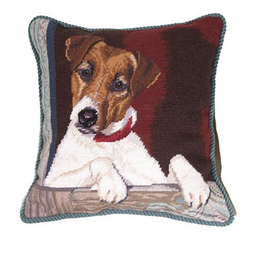 Jack Russell Needlepoint Dog Pillow
