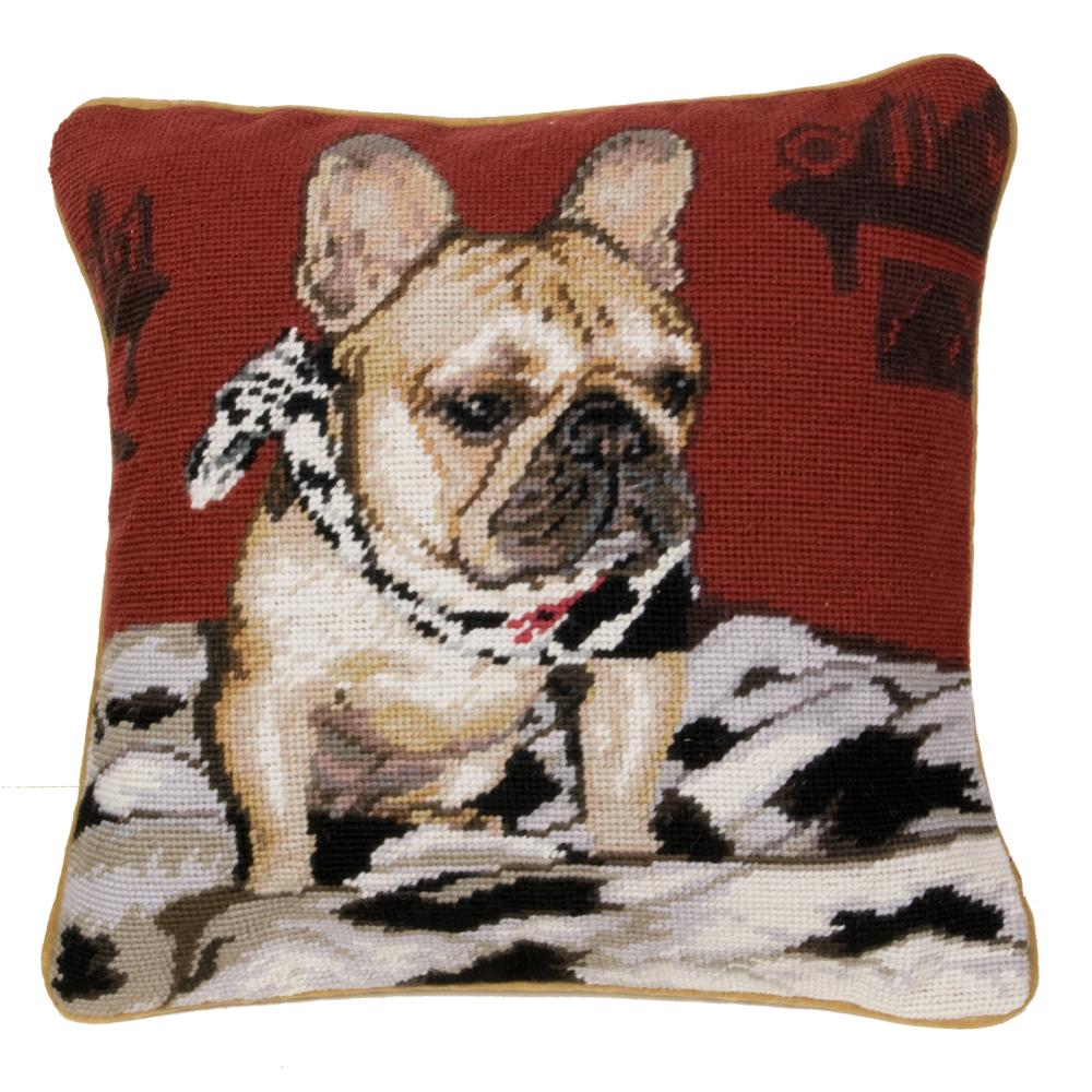 French Bulldog Needlepoint Dog Pillow