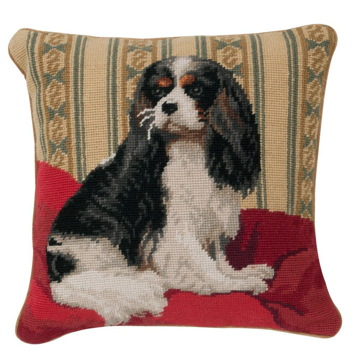 Tri Color Cavalier Needlepoint Dog Pillow