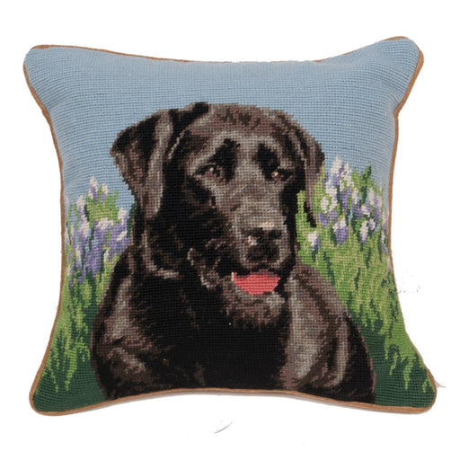 Black Lab Needlepoint Dog Pillow