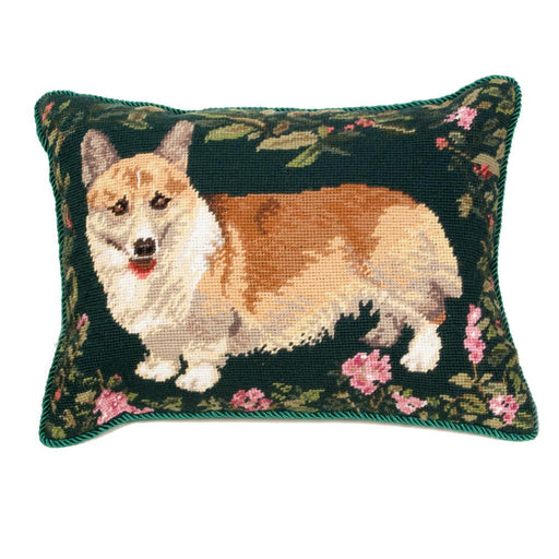 Corgi Garden Needlepoint Dog Pillow