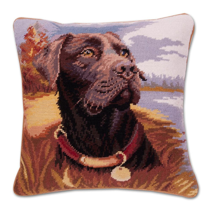 Chocolate Lab Needlepoint Dog Pillow