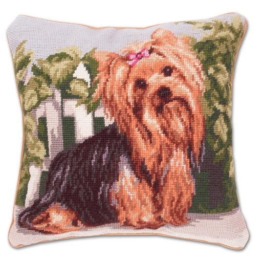 Garden Yorkie Needlepoint Dog Pillow