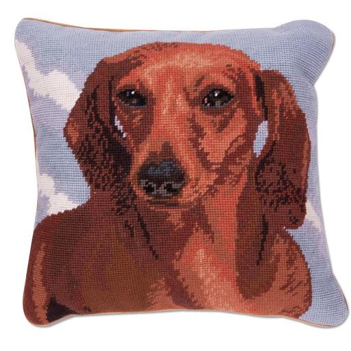 Red Dachshund Portrait Needlepoint Dog PillowBlue background