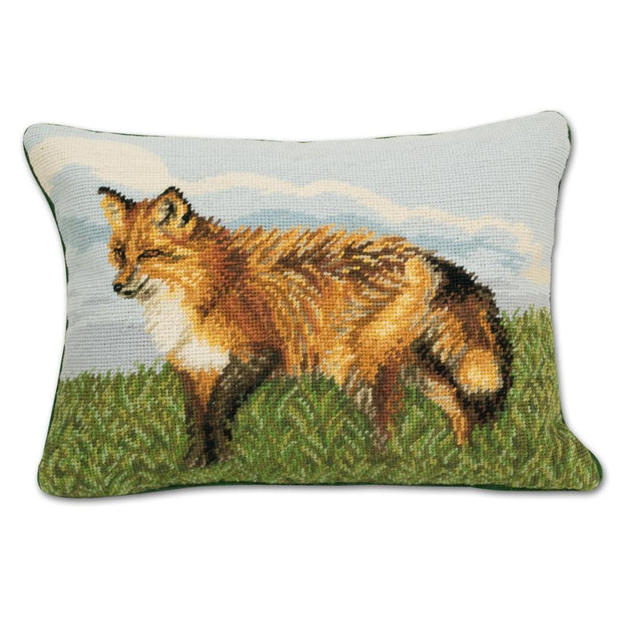 Standing Red Fox Needlepoint Pillow