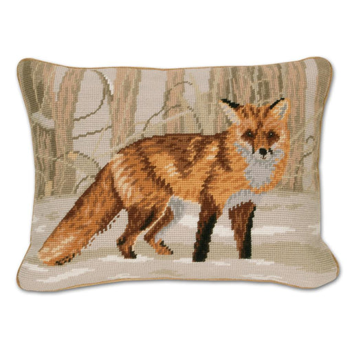 Winter Forest Fox Needlepoint Pillow