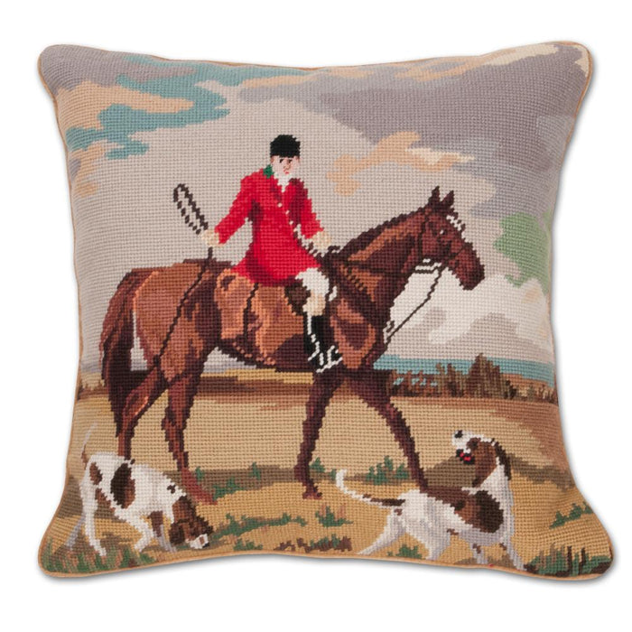 Chestnut Hunting Horse Needlepoint Pillow