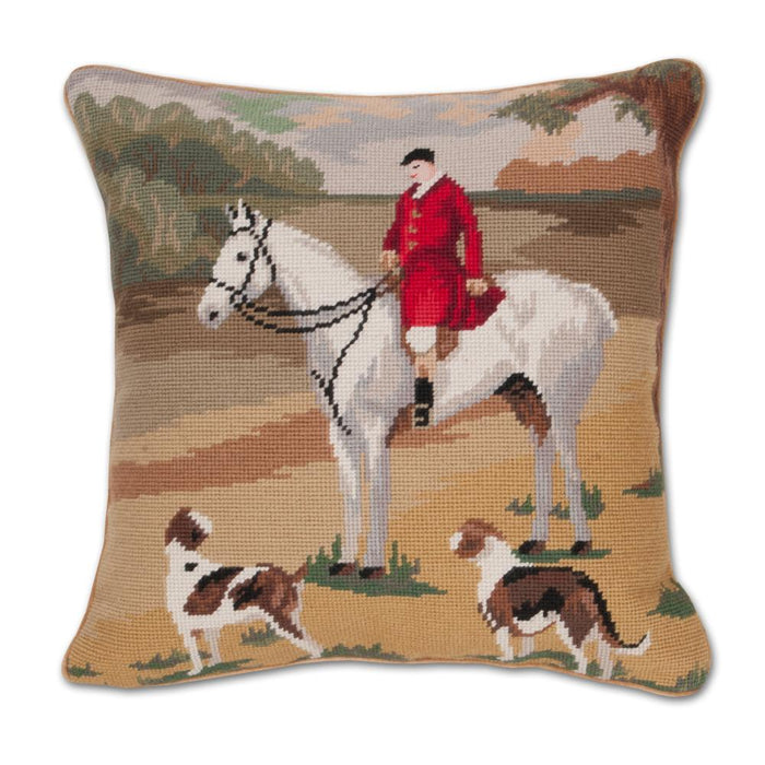 Grey Hunting Horse Needlepoint Pillow