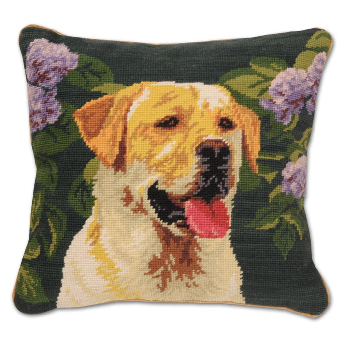 Garden Yellow Lab Needlepoint Dog Pillow