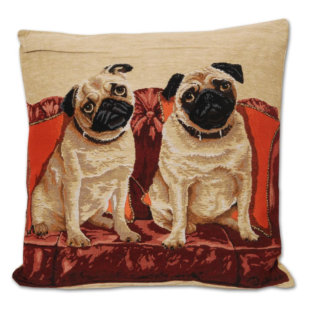 Pair of Pugs Tapestry Dog Accent Pillow