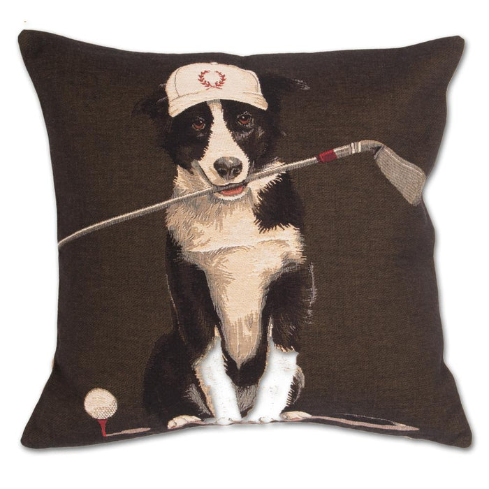 Golfing Border Collie Tapestry Dog Pillow