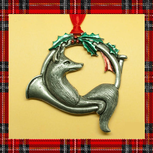 Fox and Horn Pewter Ornament