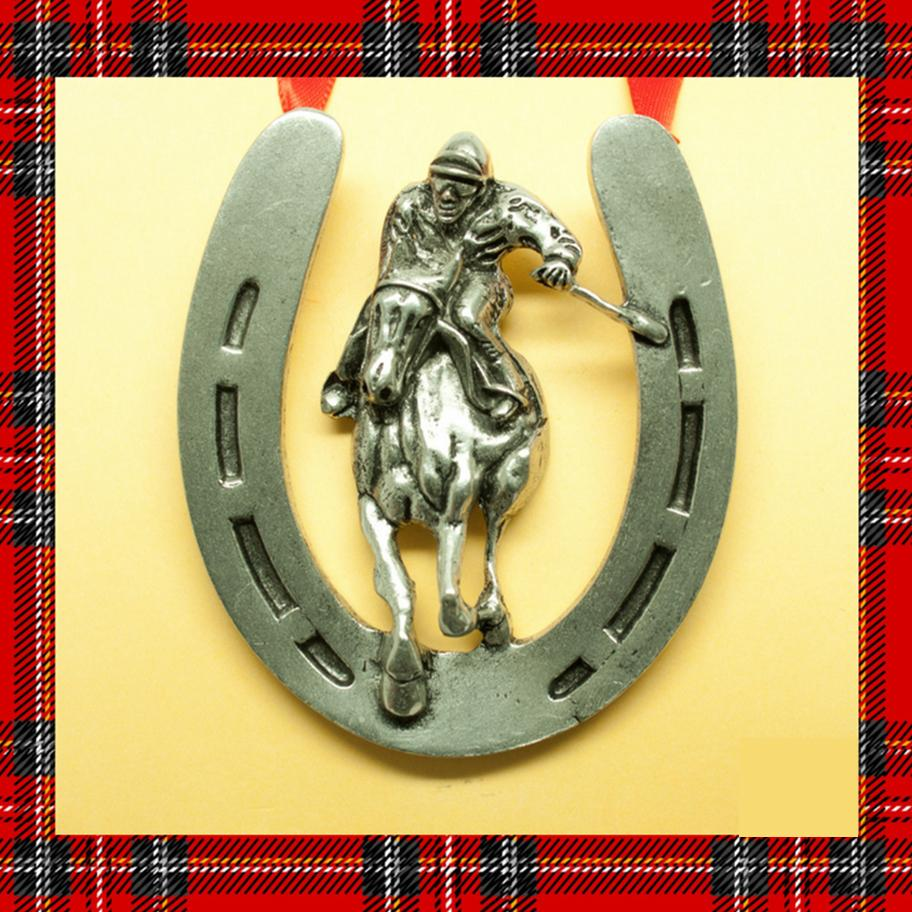 Home Stretch Horse Racing Pewter Ornament