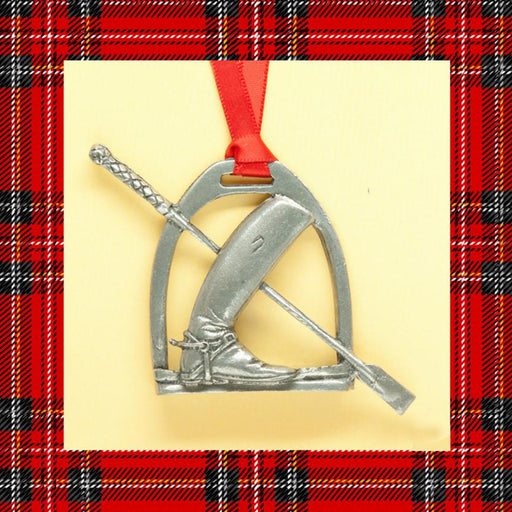 Let's Ride Stirrup & Boot Pewter Ornament
