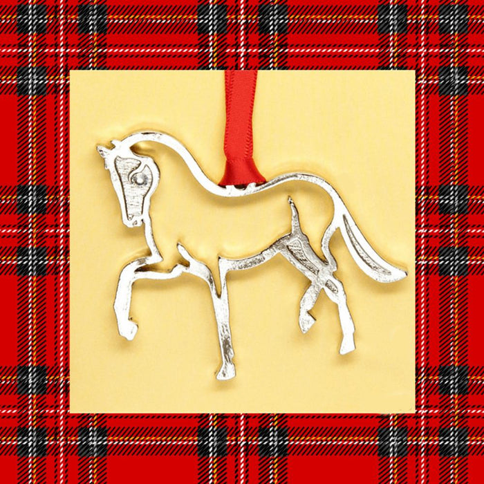 Dressage Horse Silhouette Pewter Ornament