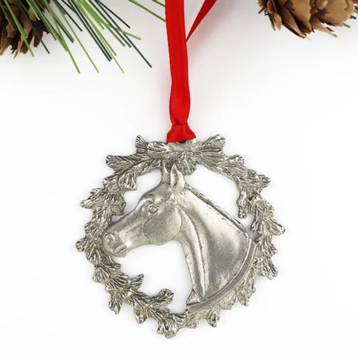 Holiday Horse in Wreath Pewter Ornament