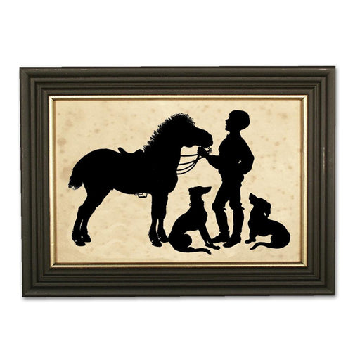 Boy and His Pony - Equestrian Silhouette Art