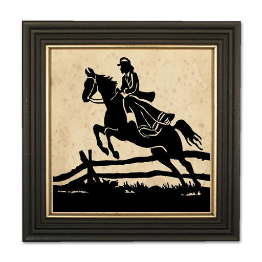 Lady Jumps the Fence - Equestrian Silhouette Art