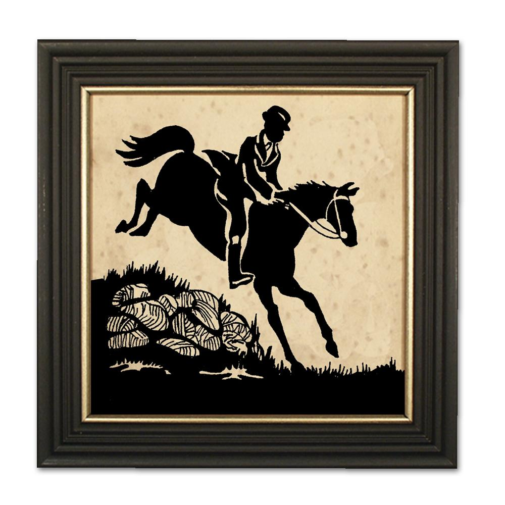 Gentleman Jumps the Hedge - Equestrian Silhouette Art
