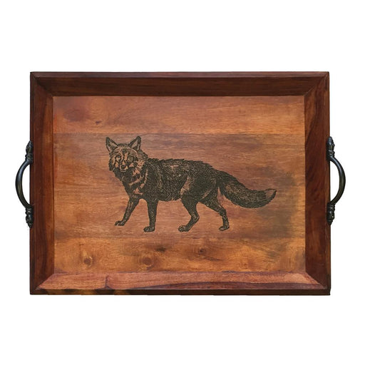 Stalking Fox Wood Serving Tray